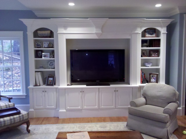 Entertainment center traditional family room boston Design plans for entertainment center