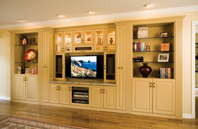 Entertainment center in large alcove space traditional for 13x13 living room decorating ideas