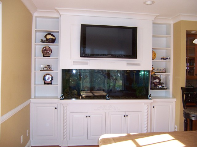 Entertainment Center with fish tank traditional-family-room