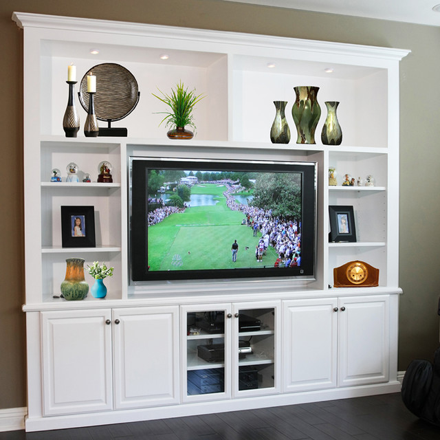 entertainment centers built in niches transitional family room - Built In Entertainment Center Design Ideas
