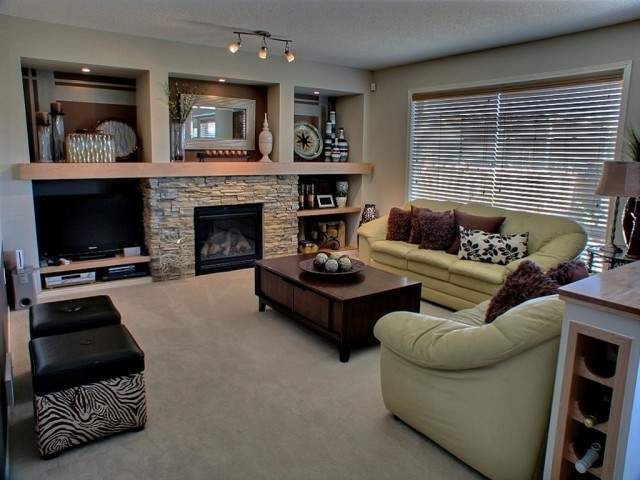 Entertainment With Fireplace Contemporary Family Room