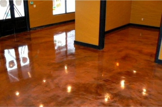 Epoxy Floor On A House Contemporary Family Room