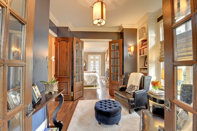 Traditional Family Room Idea In Minneapolis With Gray Walls