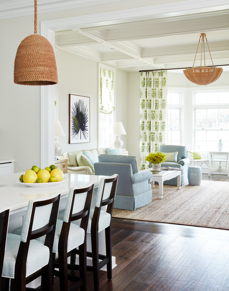 Large beach style open concept dark wood floor and brown floor family room photo in Jacksonville with white walls