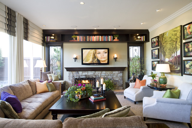Family and media room traditional family room san for Large family room layout