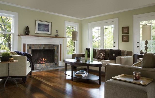 Etonnant Inspiration For A Contemporary Medium Tone Wood Floor And Brown Floor  Family Room Remodel In Detroit