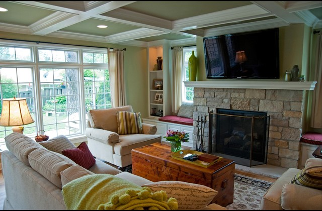 Family room addition with a fireplace and 2nd floor space for Family room addition pictures