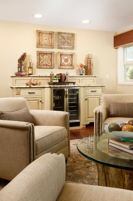 Elegant family room photo in Minneapolis