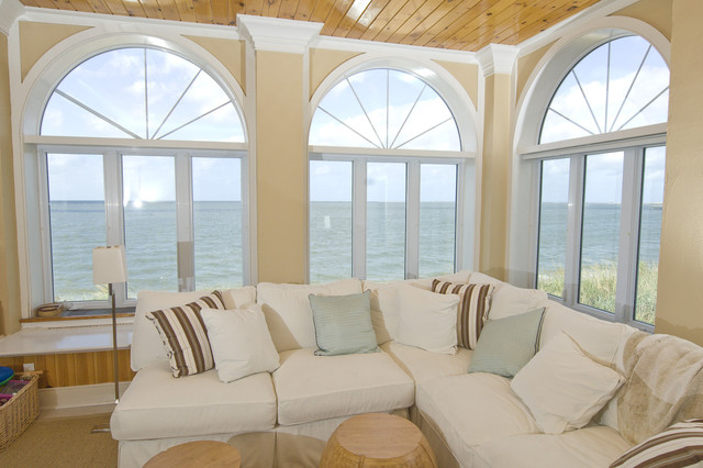 Family room at beach house in Lewes, DE. beach-style-family-room