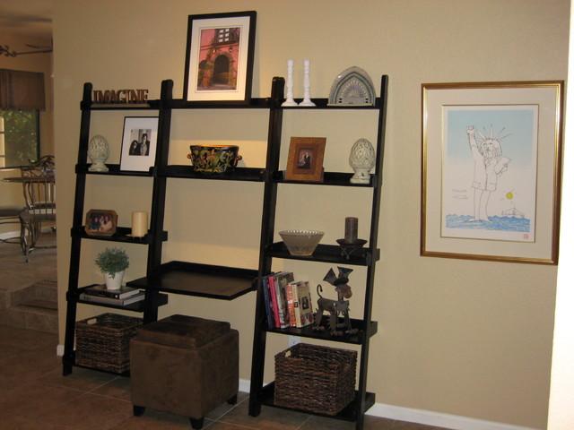 Family Room Bookshelf Display eclectic-family-room