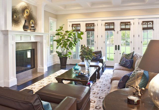 Family room traditional family room los angeles by for Living room designs with french doors