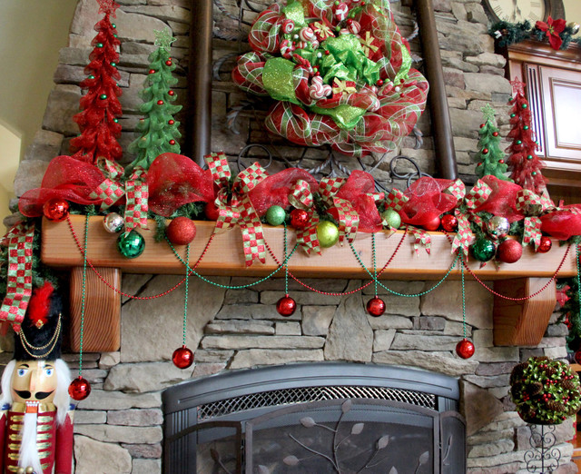 Family Room - Deco Mesh Christmas Wreath And Mantle traditional-family-room