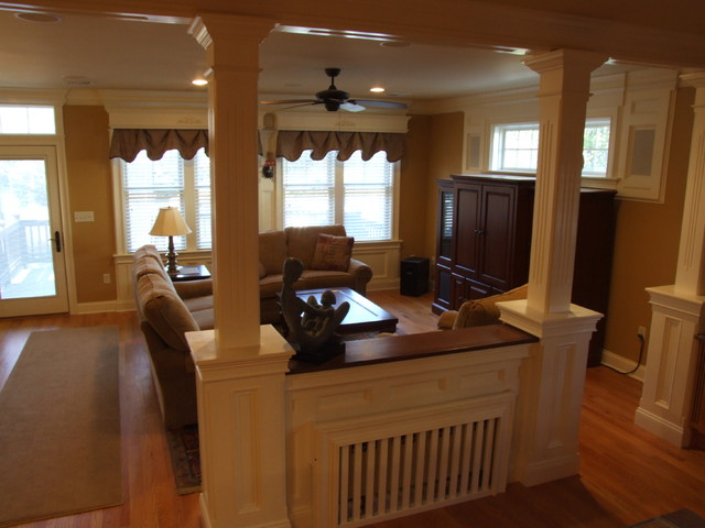 Family Room Dividing Wall - traditional - family room - newark