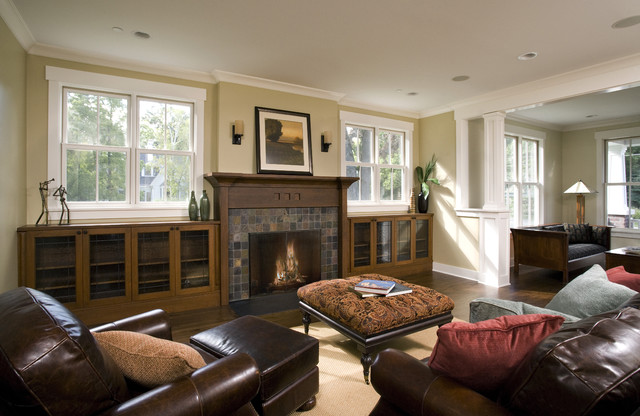 Family room fireplace built ins craftsman family for Traditional great room designs