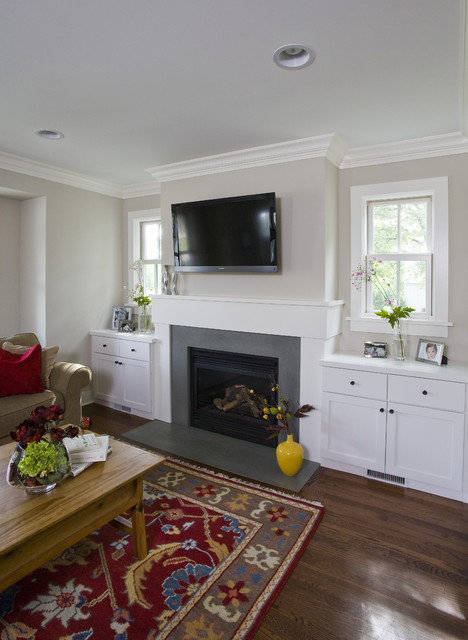 Family Room Fireplace & Built Ins - Rustic - Family Room ...