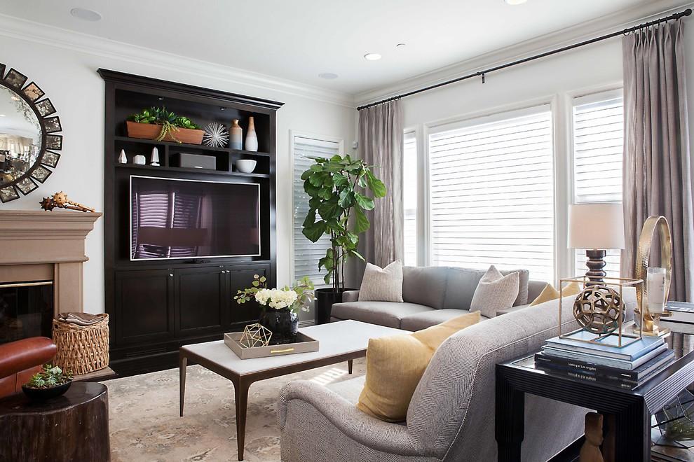 Family room - contemporary family room idea in Orange County