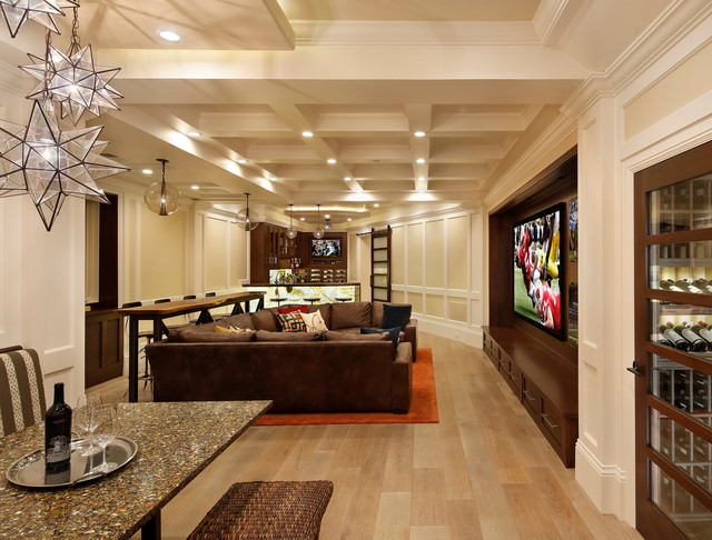 family room home theater and bar contemporary family room san