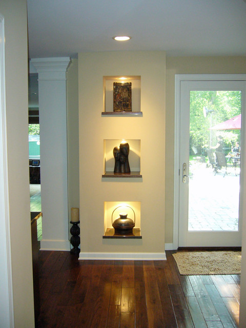 Family Room Illuminated Niche Wall Contemporary