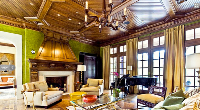 Large arts and crafts enclosed family room photo in Dallas with green walls