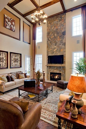Family room Two story living room decorating ideas