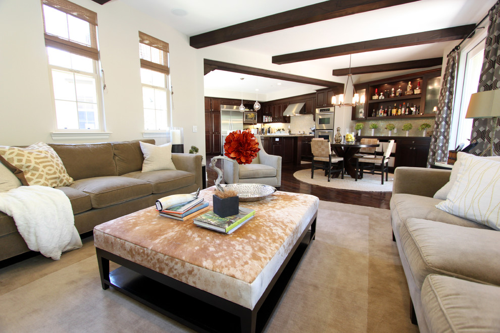 Inspiration for a transitional family room remodel in Orange County