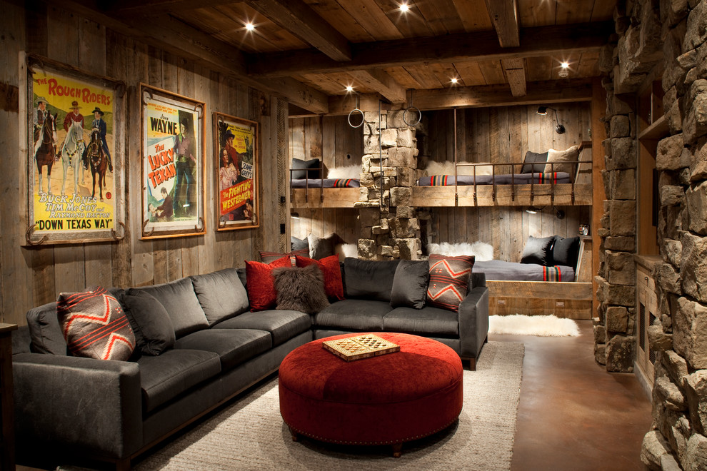 Family room - rustic family room idea in Other