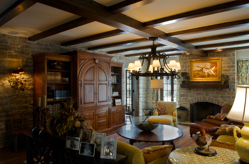 family room with stone walls
