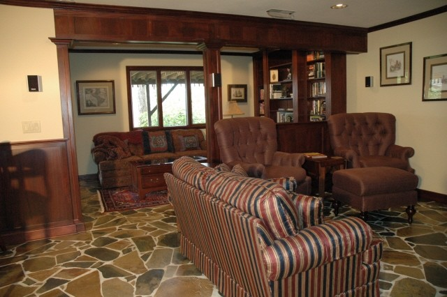 Family room turned into an Old English Pub Traditional Family