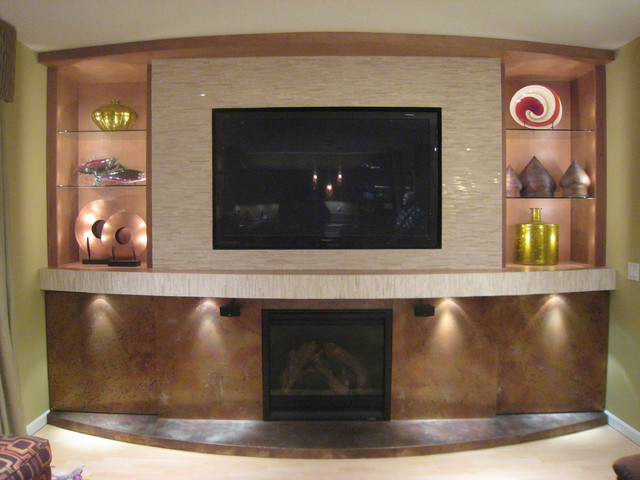 Family Room Tv And Fireplace Wall With Hidden Storage - Family