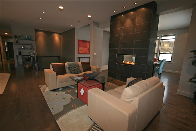 Family Room W Double Sided Linear Burner Fireplace