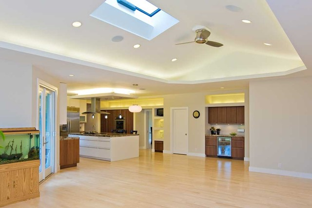 Family room w vaulted ceiling skylight opens to kitchen for Vaulted ceiling kitchen designs