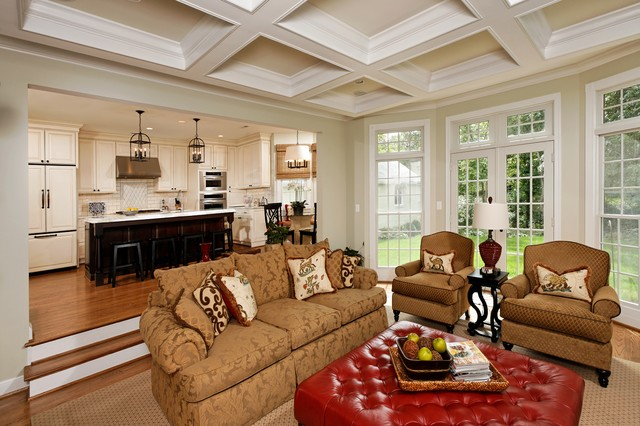 Family Room with Coffered Ceilings traditional family room