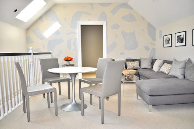Family Room with Custom Wallpaper contemporary-family-room
