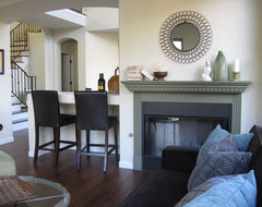 Family Room with Fireplace and Built-in Bar eclectic-family-room