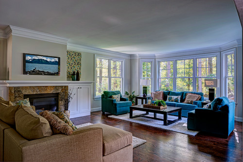 Family Room with Fireplace and Wall of Windows