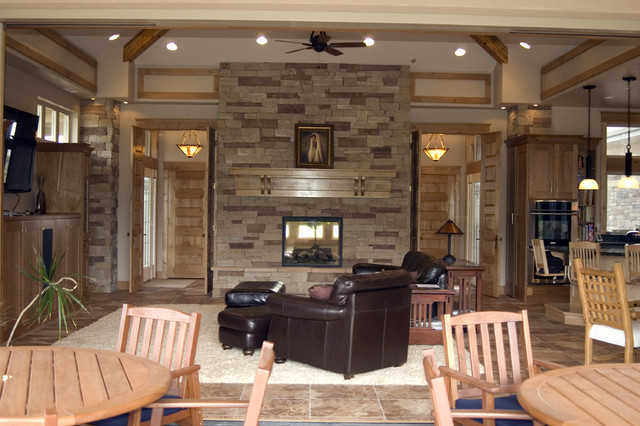 Family Room With Pass Through Fireplace