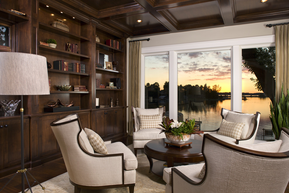 Elegant family room library photo in Minneapolis