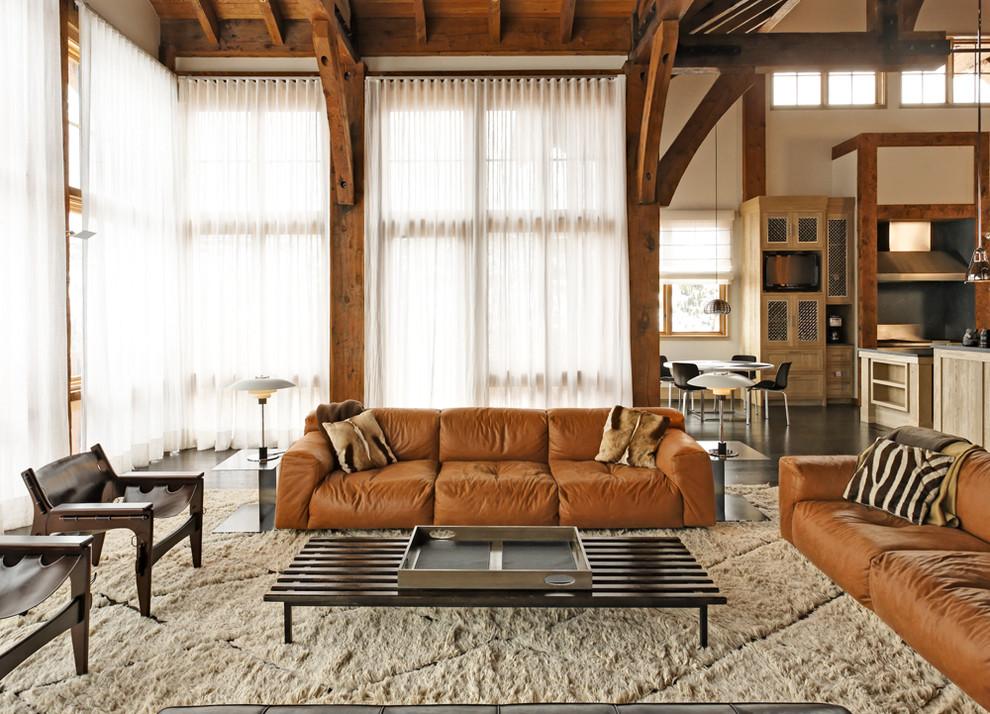 Family room - rustic open concept dark wood floor family room idea in New York with beige walls