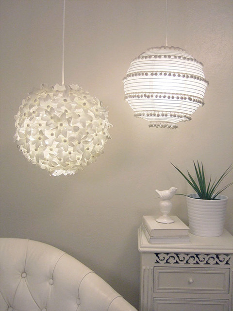 Fancy paper lanterns contemporary family room