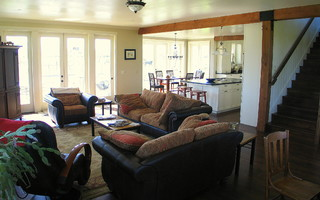 Farmhouse family room traditional family room