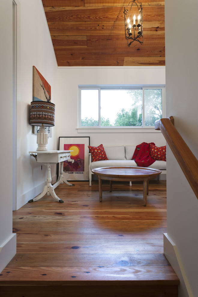 Example of a country family room design in Austin