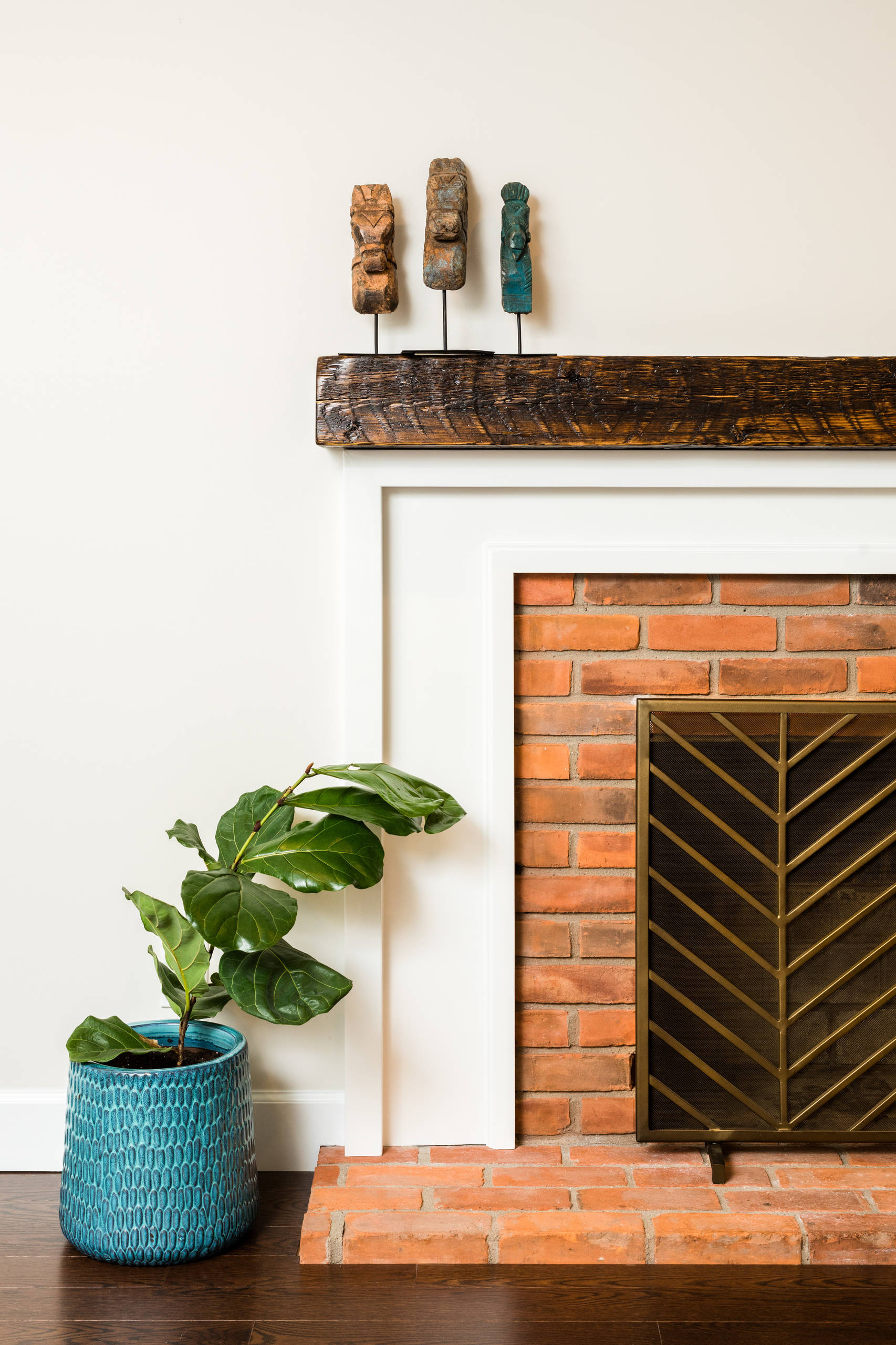 This mantle was created by a local woodsmith and artist with wood reclaimed from a Detroit Fire Station in Downtown Detroit Michigan. Each piece is numbered and registered, giving a little bit of love