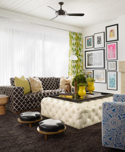 Fashionably Bold Contemporary Family Room Orange