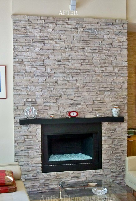 Faux Stone Fireplace Contemporary
