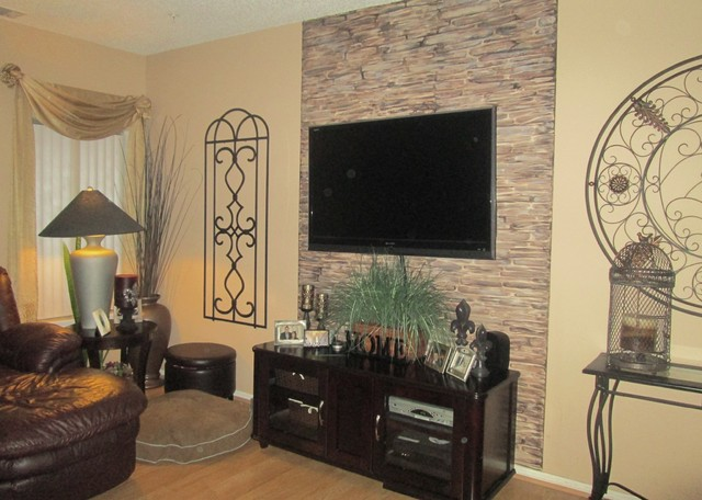 Faux Stone Fireplace Wallrustic Family Room New York