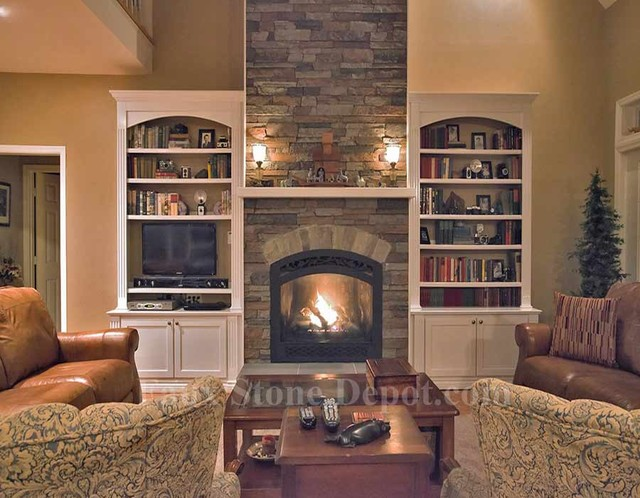 faux stone fireplaces contemporary family room dc metro by