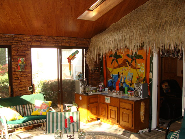 Faux Stone Panels Create A Tiki Bar Design Beach Style