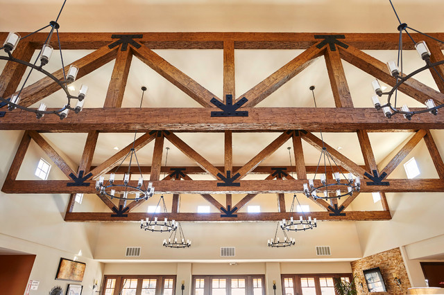 Faux Wood Beams Trusses Rustic Family Room Phoenix