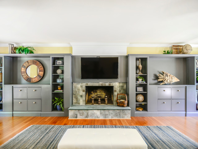 Family room - beach style family room idea in Charlotte
