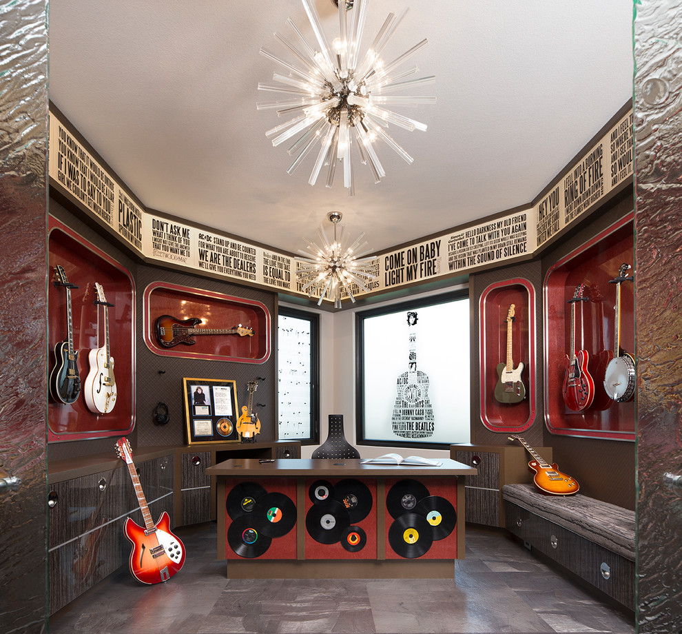 Example of a trendy enclosed gray floor family room design in Minneapolis with a music area and multicolored walls
